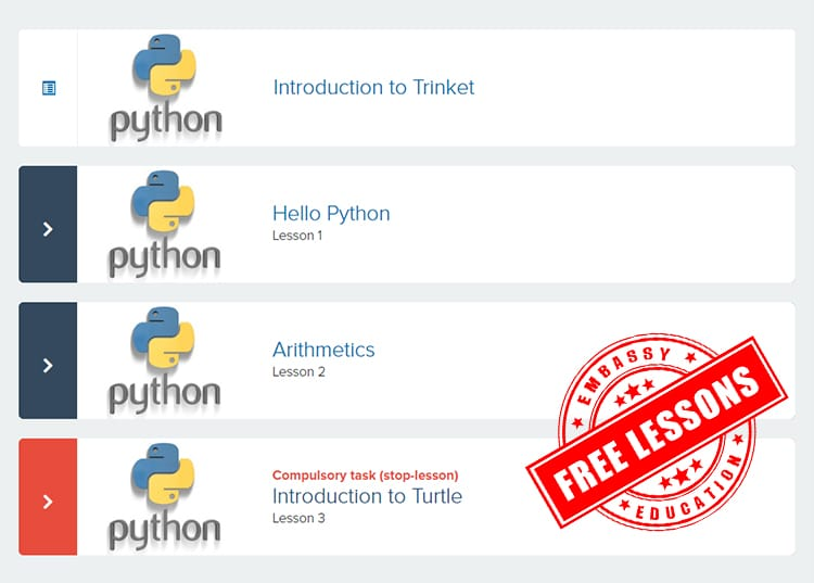 Free 3 python lessons